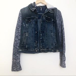 Free People Distressed Knit Hooded Jean Jacket